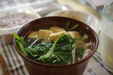 ほうれん草のお味噌汁 (2010-10-16)